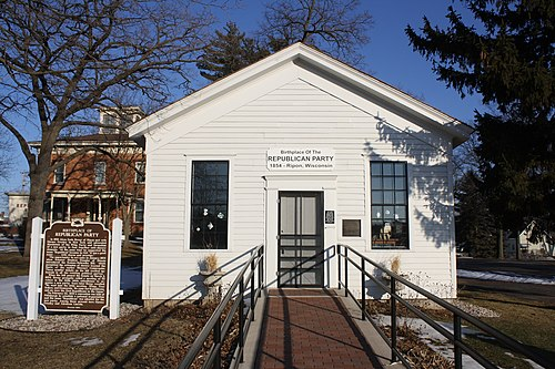 The first local meeting of the new Republican Party took place here in Ripon, Wisconsin on March 20, 1854. Little White Schoolhouse Ripon Wisconsin Feb 2012.jpg