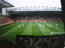 View of the Kop during a match against Paris Saint-Germain