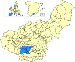 Location in the province of Granada and Andalusia.