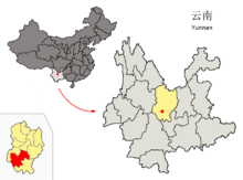 Location of Chuxiong City within Yunnan China.png