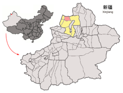 Location of Emin within Xinjiang (China).png