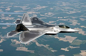 Fighter aircraft - A USAF F-22A Raptor stealth fighter.