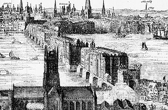 London Bridge - An engraving by Claes Visscher showing Old London Bridge in 1616, with what is now Southwark Cathedral in the foreground. The spiked heads of executed criminals can be seen above the Southwark gatehouse.