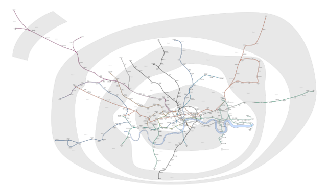 Geographically correct map of the whole London Underground