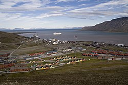 Parts of the town of Longyearbyen in July 2011