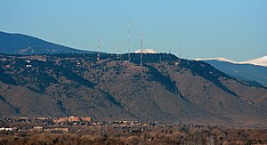 Lookout Mountain (Colorado) - Lookout Mountain, as seen through a telephoto lens from downtown Denver.