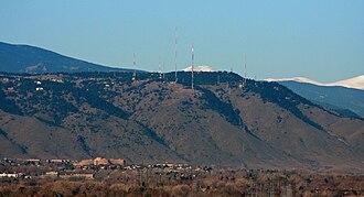Lookout Mountain (Colorado) - Lookout Mountain, as seen through a telephoto lens from downtown Denver.