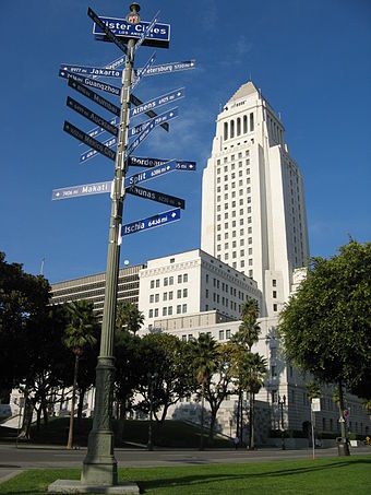 Los Angeles City Hall with twin towns fingerpost Los Angeles City Hall with sister cities 2006.jpg