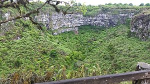 Santa Cruz Island (Galápagos) - One of the twin craters, Los Gemelos, that bracket Santa Cruz Highway in the highlands