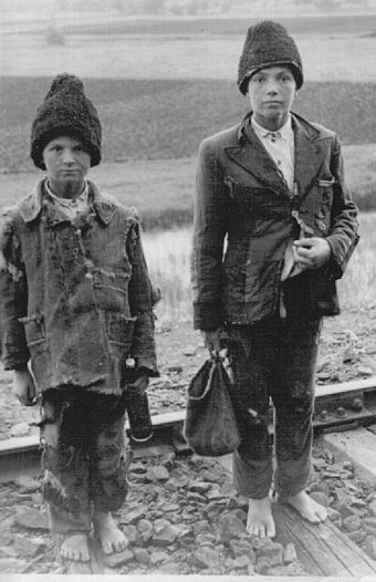 Homeless Russian children in occupied territory (about 1942) Lost children russia about 1942.jpg