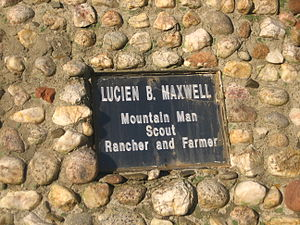 Lucien Maxwell - Plaque on Statue of Lucien B. Maxwell in Mountainview Cemetery in Cimarron, New Mexico