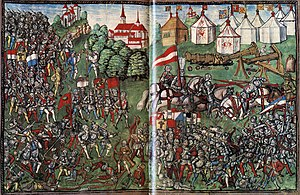 Battle of Toro - Chevaliers and footmen in combat (battle of Grandson, 2 March 1476).