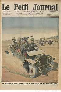 Lyautey reaches Marrakesh in armored car (1912, Le Petit Journal)