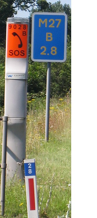 "Driver location sign - Driver location sign, emergency telephone and location marker post at position 2.8 on the ""B"" carriageway of the M27 in Hampshire"
