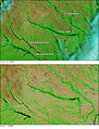 MODIS before after images of Iowa flooding 2008.jpg