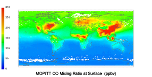 MOPITT - MOPITT satellite computer image of carbon monoxide March 2010.