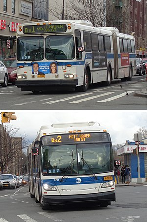 Grand Concourse buses - A Bx1 Limited (top) and Bx2 (bottom) at Fordham Road.