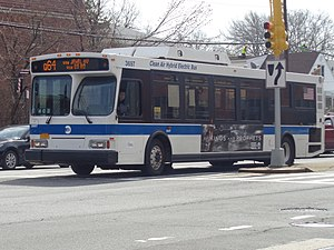 Q64, QM4 and QM44 buses - A Q64 bus entering service at 164th Street in Electchester