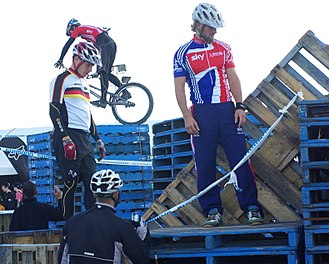Mountain bike trials - Riders inspecting a section, as permitted under UCI regulations.