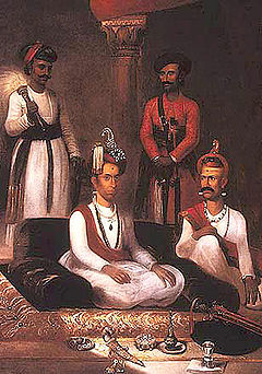 Madhu Rao Narayan the Maratha Peshwa with Nana Fadnavis and attendants Poona 1792 by James Wales.jpg