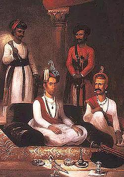 Madhu Rao Narayan the Maratha Peshwa with Nana Fadnavis and attendants Poona 1792 by James Wales.jpg