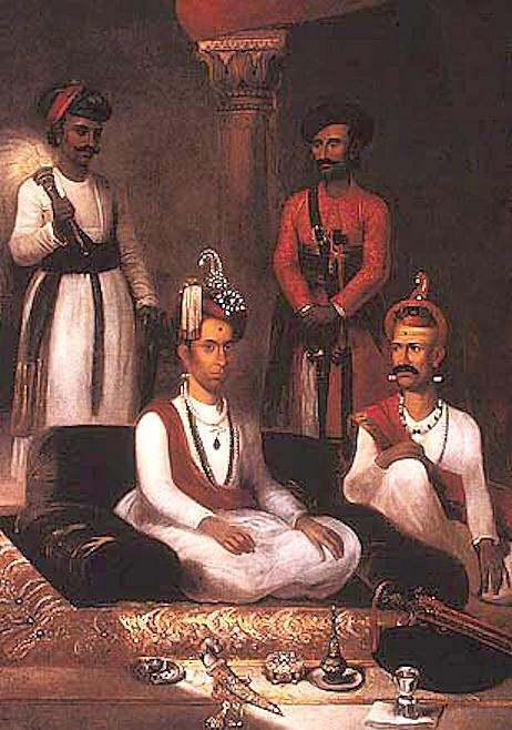 Madhu Rao Narayan the Maratha Peshwa with Nana Fadnavis and attendants Poona 1792 by James Wales