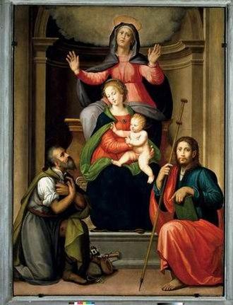 Ridolfo Ghirlandaio - Image: Madonna col bambino, sant'anna e santi, michele tosini e ridolfo del ghirlandaio, prato, chiesa di santo spirito