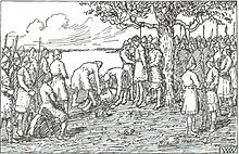 Black-and-white drawing of Egil hanged by the neck in a tree, surrounded by crowds of men