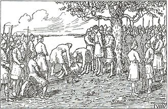 Magnus Barefoot - The hanging of Egil Aslaksson, as imagined by Wilhelm Wetlesen (1899)