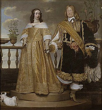 Maria Euphrosyne of Zweibrücken - Magnus Gabriel De la Gardie with his spouse Maria Euphrosyne of Pfalz-Zweibrücken, the sister of King Charles X of Sweden. Painting from 1653 by Hendrik Munnichhoven. The picture is filled with symbolic details: Magnus Grabriel is standing lower than his wife because she is sister of the king; their holding hands symbolizes fidelity; the bean in Maria Euphrosyne's hand shows that she is pregnant. The painting is regarded as one of the finest from the early Swedish baroque era.