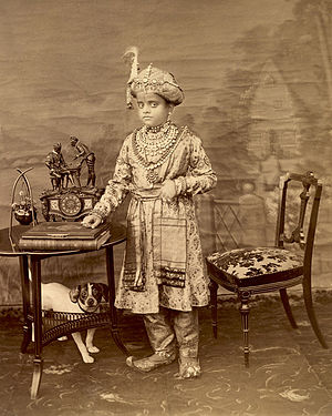 Krishna Raja Wadiyar IV - A photograph of Krishna Raja Wadiyar IV taken 2 February 1895, a few months before his eleventh birthday.