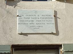 Maison du RP Xavier de Fourviere plaque