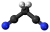 Ball and stick model of malononitrile