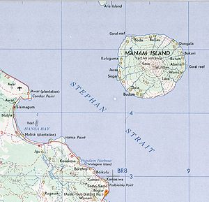 Manam Motu - Map of Manama and adjacent coast