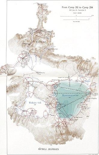 Lake Manasarovar - Map of the region