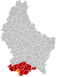 Map of Luxembourg with Esch-sur-Alzette highlighted in orange, the district in dark grey, and the canton in dark red