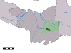 The town centre (dark green) and the statistical district (light green) of Axel in the municipality of Terneuzen.