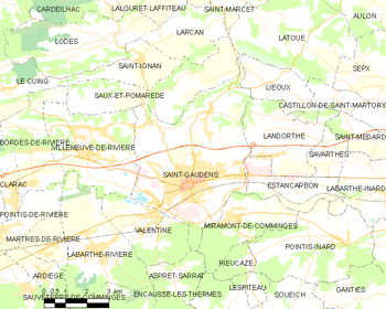 Map of the commune de Saint-Gaudens
