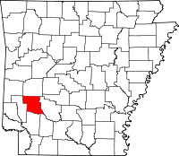 Map of Arkansas highlighting Pike County