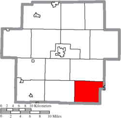 Location of Loudon Township in Carroll County