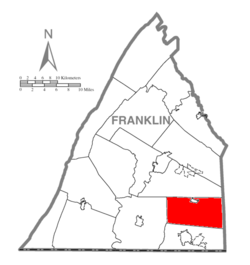 Map of Franklin County, Pennsylvania highlighting Quincy Township