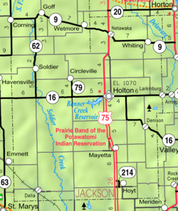 KDOT map of Jackson County (legend)