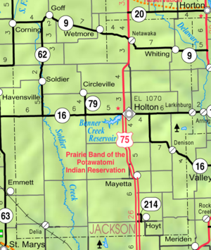 Jackson County, Kansas - Image: Map of Jackson Co, Ks, USA