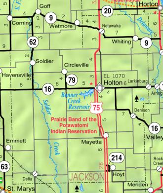 Jackson County, Kansas - Image: Map of Jackson Co, Ks, USA