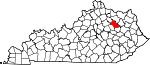 State map highlighting Bath County