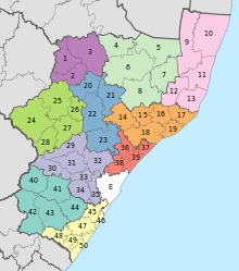 Map of KwaZulu-Natal with districts shaded and municipalities numbered (2011).svg
