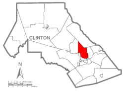 Map of Clinton County, Pennsylvania highlighting Woodward Township