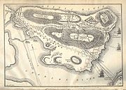 A historic map of Bunker Hill featuring military notes