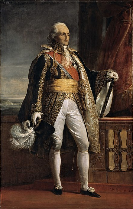Portrait of Bon-Adrien Jeannot de Moncey in 1792, painted by Pierre-Joseph Dedreux-Dorcy in 1834, now at the Palace of Versailles Marechal Moncey.jpg