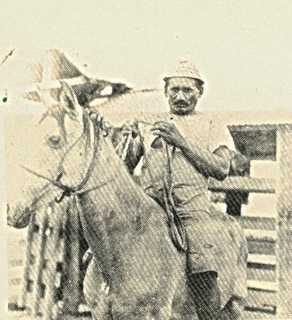 Llanero - Maria Nieves was an Apurean  Llanero that inspired a character in Rómulo Gallegos' Doña Barbara. This photograph in 1920, shows him ready to guide the cattle to cross the Apure River.